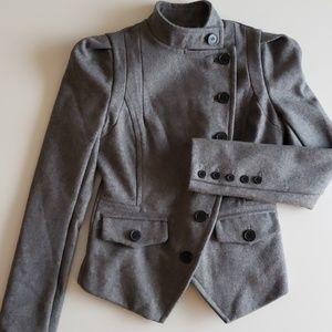 BEBE Gray Side Button Wool Jacket